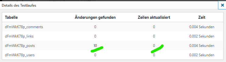 better search replace - Auswertung