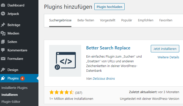 better search replace - installieren