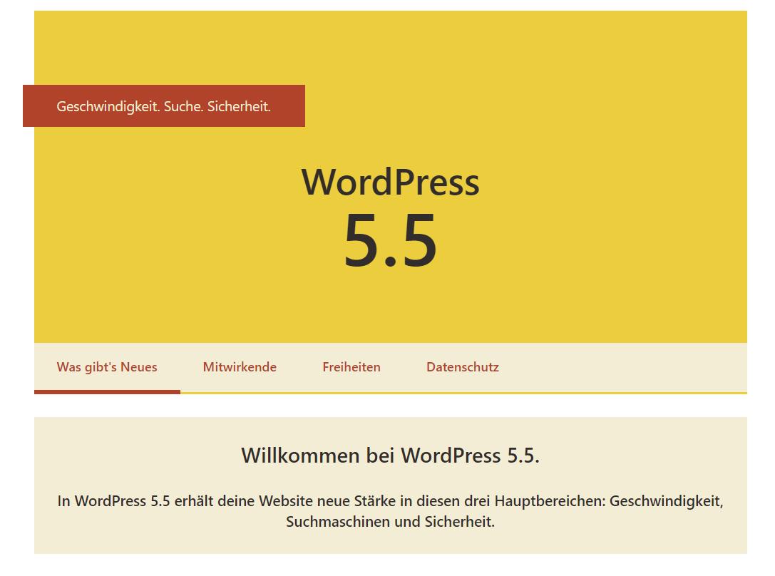 wp 5.5 dashboard