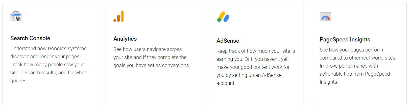 Google Analytics, Search Console, AdSense und PageSpeed Insights