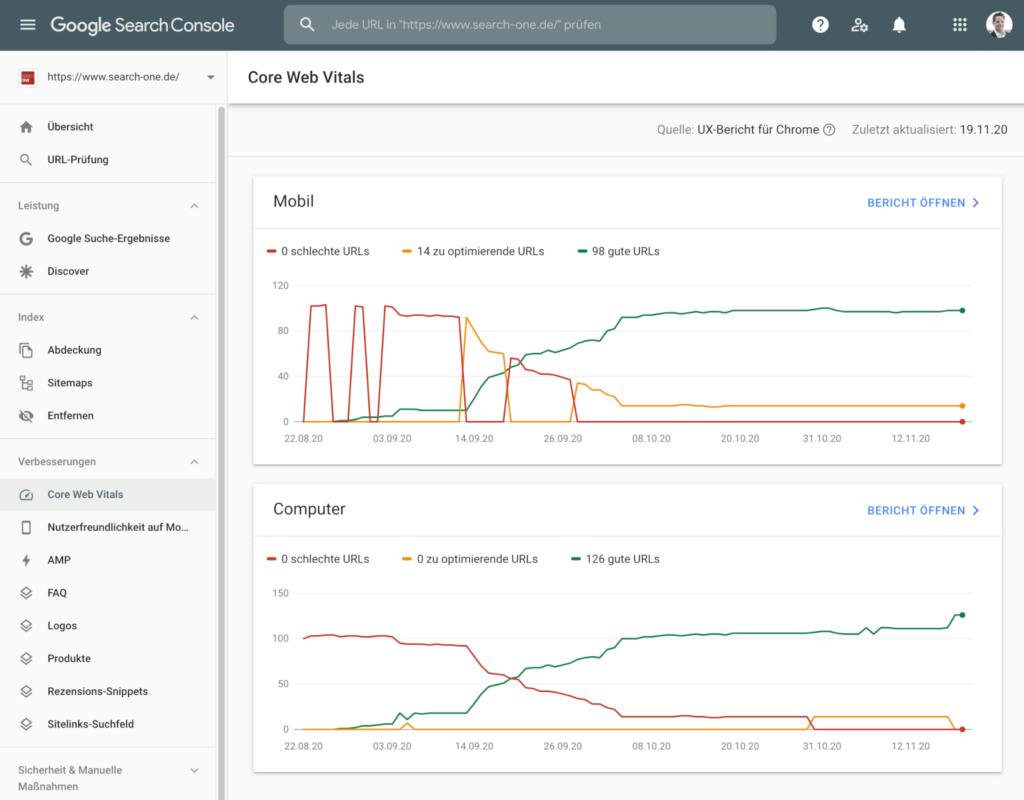 Bericht zu den Core Web Vitals in der Google Search Console