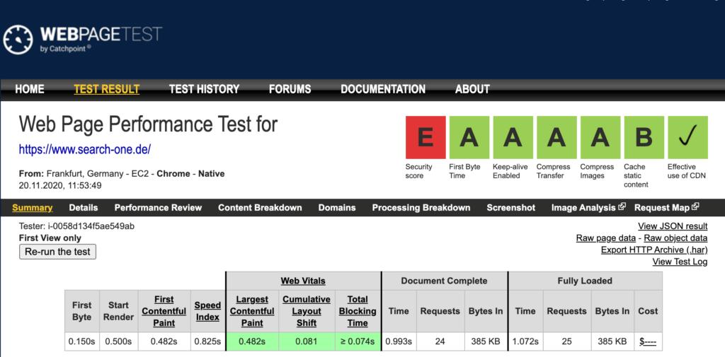 Report von webpagetest.org