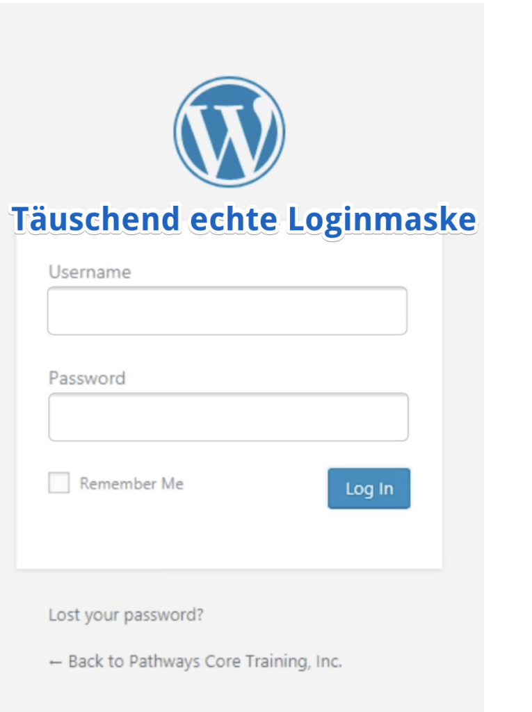 Screenshot Login Page WordPress Phishing Website