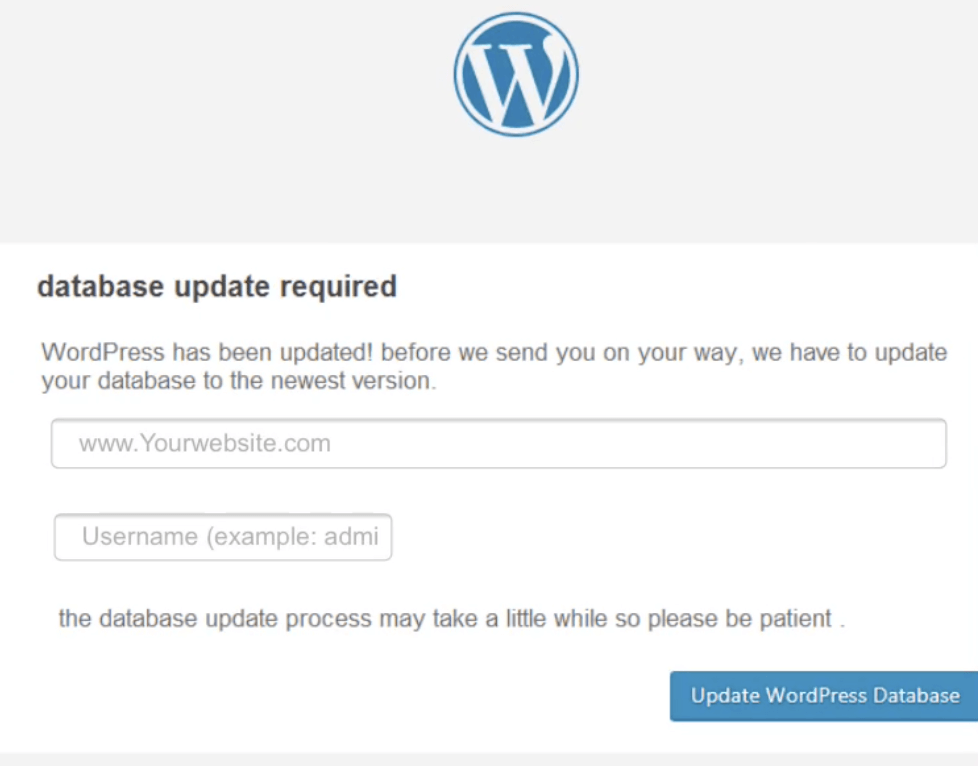 Screenshot Datenbank Update WordPress Phishing