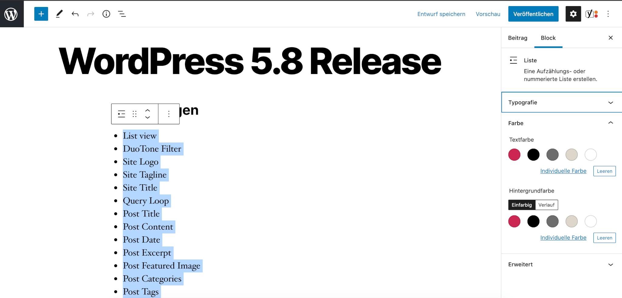 Mehr Farboptionen beim Markieren von Text WordPress 5.8