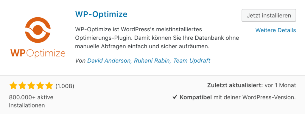 WP Optimize - Datenbank optimieren für deinen Online Shop