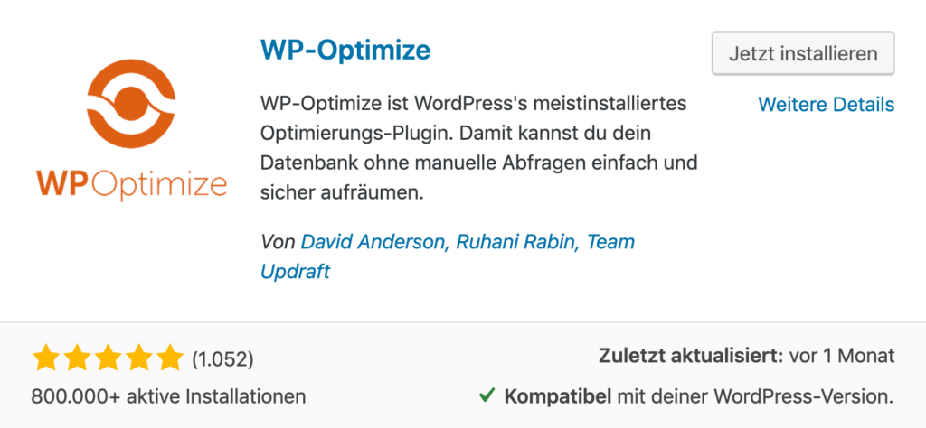 WP-Optimize - WordPress Datenbank optimieren für bessere Performance