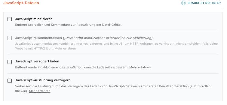 WP Rocket: Java Script Dateien